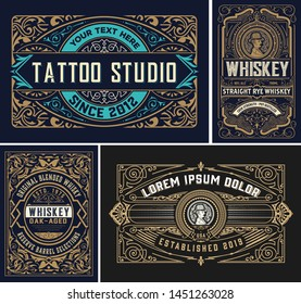 Set of 4 vintage labels for packing