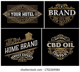 Set of 4 vintage logos with baroque ornaments.