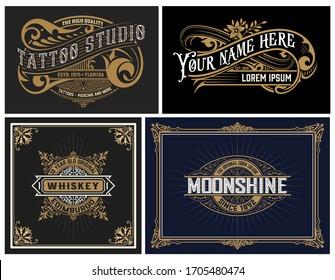 Set of 4 vintage Logos. Vector layered