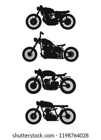 set of 4 vintage motorcycles. Vector graphics.