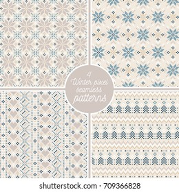 set of 4 winter pixel seamless patterns retro vector christmas cross stitch background christmas