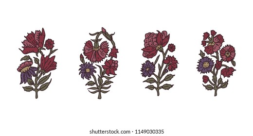 Set of 4 wood block print floral elements. Traditional oriental ethnic motifs of India,  carnation flowers. For your design.