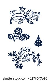 Set of 4 wood block printed floral elements. Traditional ethnic motifs of Russia, indigo blue on white background. For your design of ornamental patterns or borders.