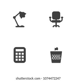 Set of 4 workspace icons set. Collection of chair, calculator, wastebasket and other elements.