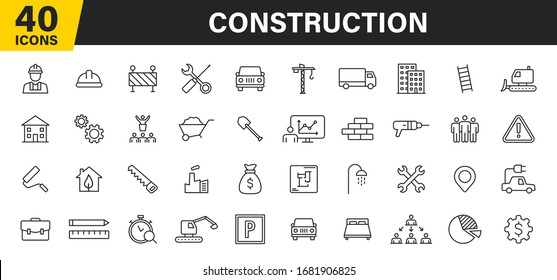 Set of 40 Construction web icons in line style. Building, engineer, business, road, builder, industry. Vector illustration.