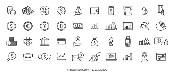Set of 40 Finance and Money and Payment web icons in line style. Business, investment, financial, banking ,dollar, bank, cash, coin exchange, pay. Vector illustration.
