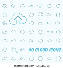 Set of the 40 Line Cloud icons.