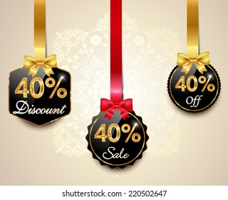 Set of 40% sale and discount golden labels with red bows and ribbons Style Sale Tags Design, 40 off - vector eps10