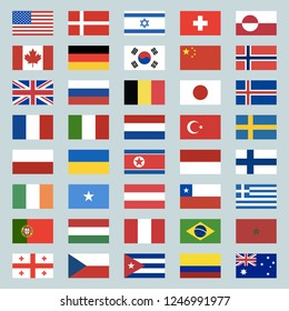 Set of 40 world flags icons. USA, Portugal, Israel, Switzerland, Canada, Germany, South Korea, China, Great Britain, Russia, Brazil, Japan, France, Italy, Netherlands, Turkey. Vector illustration