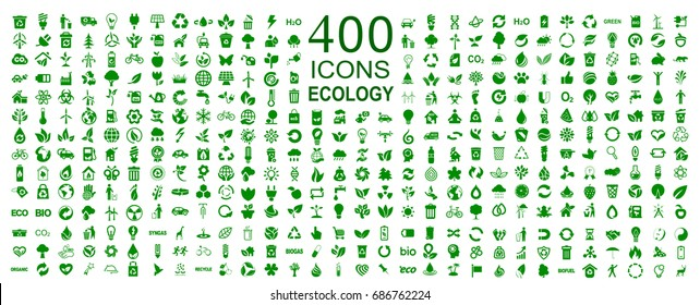 Set of 400 ecology icons – stock vector