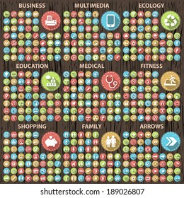 Set of 400 Flat Icons on Circular Wood Buttons.