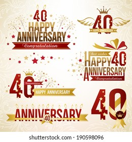 Set of 40th anniversary design elements