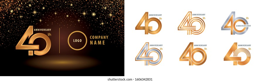 Set of 40th Anniversary logotype design, Forty years Celebrating Anniversary Logo silver and golden for celebration event, invitation, greeting, vector illustration, web template, flyer and booklet