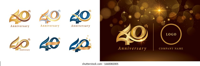 Set of 40th Anniversary logotype design, Forty years Celebrate Anniversary Logo silver and golden, Vintage and Retro Script Number Letters, Elegant Classic Logo for Congratulation celebration event