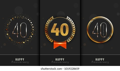 Set Of 40th Happy Anniversary Cards Template