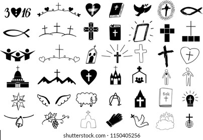 Set of 42 christian icons . Ministry . Biblical background. Poster. Sunday school. Scripture print Symbol