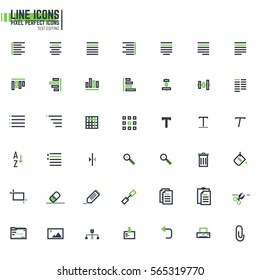 Set of 42 document editing line icons. Text alignment icons. Pixel perfect desing.