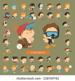 Set of 42 Sport characters , eps10 vector format