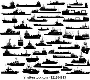 Set of 44 (forty four) silhouettes of sea yachts, towboat, battleship and ships