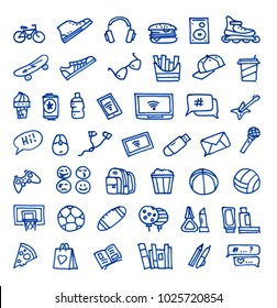 Set of 44 teenager's stuff hand drawn blue icons drawn with a felt-tip pen