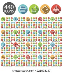 Set of 440 Universal Flat Minimalistic Elegant Standard Thin Line Icons on Circular Colored Buttons on White Background.