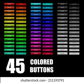 Set of 45 colored buttons.
