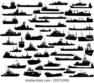 Set of 45 (forty five) silhouettes of sea yachts, towboat, battleship and ships