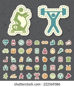 Set of 45 Universal Standard New Color Fitness Icons Paper Cut Style on Black Background.
