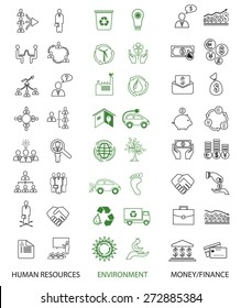 Set of 48 ecology, human resources and finance icons.