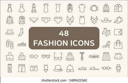Set of 48 fashion and clothes Icons line style.  Contains such Icons as dress, wear, apparel, clothing, bag, glasses, pants, underwear And Other Elements.  customize color, easy resize.