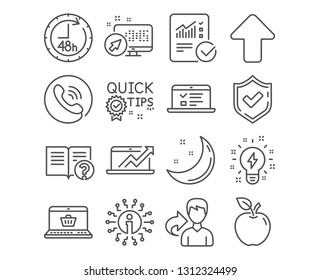Set of 48 hours, Inspiration and Upload icons. Web lectures, Sales diagram and Help signs. Checked calculation, Quick tips and Online shopping symbols. Delivery service, Creativity, Load arrowhead