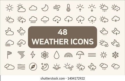 Set of 48  weather and weather cast Icons line style.  Contains such Icons as sunny, partly sunny, raining, snowing, cloudy, rainbow, weather forecast, rain And Other Elements.