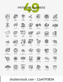 Set of 49 Business and Fintech linear icons in black adjustable stroke on white . With finance, commerce and trade themed symbols. Management, goals, blockchain, strategy, data analysis, idea, etc.