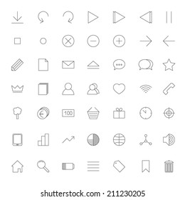 Set of 49 web thin line icons in grey
