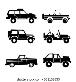 set 4x4 Utility Vehicle SUV, Off-road, Vector Illustration