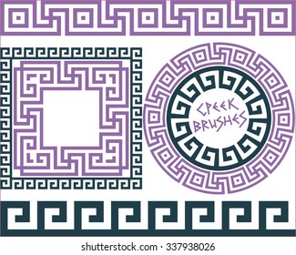 Set 5 of brushes to create the Greek Meander patterns and samples of their application for round and square frames. Brushes included in the file.