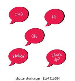 Set of 5 chat bubbles
