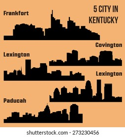 Set of 5 City silhouette in Kentucky (Frankfort, Lexington, Louisville, Paducah, Covington)