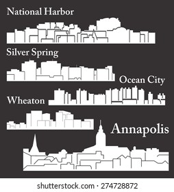 Set of 5 city silhouette in Maryland (Annapolis, Ocean City, National Harbor, Silver Spring, Wheaton)