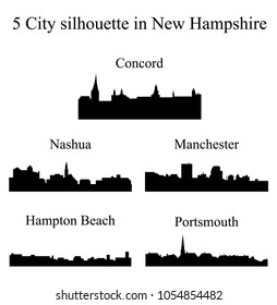Set of 5 city silhouette in New Hampshire ( Concord, Nashua, Manchester, Hampton Beach, Portsmouth )