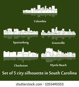 Set of 5 city silhouette in South Carolina ( Charleston, Greenville, Myrtle Beach, Spartanburg, Columbia )