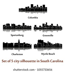 Set of 5 city silhouette in South Carolina ( Charleston, Greenville, Myrtle Beach, Spartanburg, Columbia )