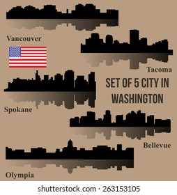 Set of 5 City in Washington (Olympia, Bellevue, Spokane, Tacoma, Vancouver)