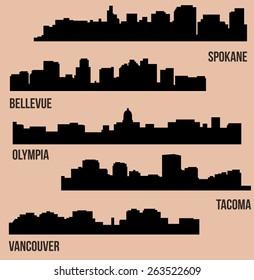 Set of 5 City in Washington (Olympia, Bellevue, Spokane, Tacoma, Vancouver)