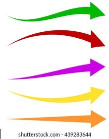 Set of 5 colorful arrow shapes. Long, horizontal arrows