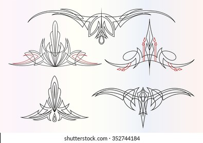 a set of 5 different pinstripe graphic ornaments