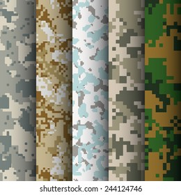 Set of 5 digital camo patterns vector