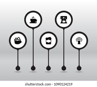 Set of 5 drink icons set. Collection of tree, cappuccino to go, percolator and other elements.