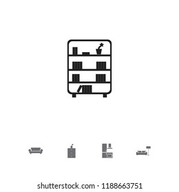 Set of 5 editable furnishings icons. Includes symbols such as davenport, kitchen, bookcase and more. Can be used for web, mobile, UI and infographic design.