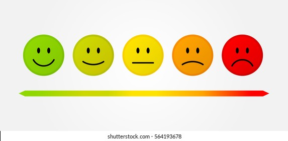 Set 5 faces scale - smile neutral sad - isolated vector illustration